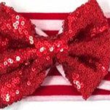 Girls Red Sequin Red/White Striped Stretchy Headband