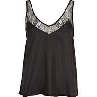 River Island Womens Black lace strap cami top