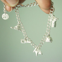 INFANCIA charm bracelet - inspired by Le Petit Prince, boa, rose, fox, asteroid, baobab and your initial, Sterling Silver
