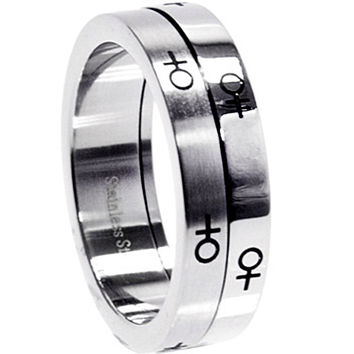 Stainless Steel Two Tone FEMALE SPINNER Ring
