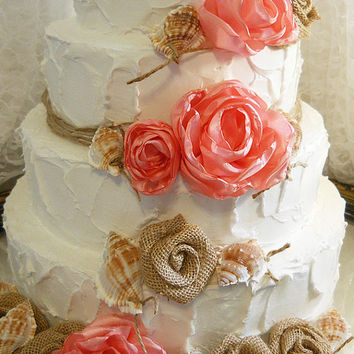 Coral Rose, Seashell, Burlap Cake Topper Flowers with Twine. Set of 13 flowers and 10 seashells. Ready to Ship!