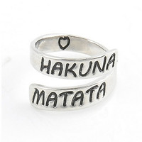 "1pc Fashion Women Punk Heart Letter ""HAKUAN MATATA"" Open Twist Finger Ring Stylish Unisex Open Finger Ring Jewelry Gift"
