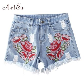 ArtSu Women Casual Jeans Shorts 90's Vintage Embroidery Shorts 2016 Summer Blue Denim Shorts Jeans High Waist ASSH20005
