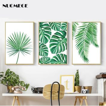 Tropical Palm Leaf Canvas Painting Fresh Monstera Nordic Minimalist Green Plant Poster Greenery Wall Art Picture For Home Decor