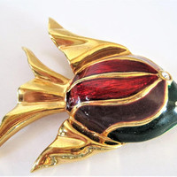 Enamel Angel Fish Brooch, signed Gontie, Colorful Enamel, #1446 Gold Tone