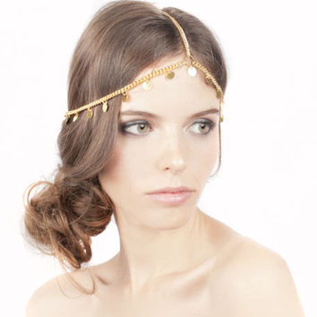 Gold coin Grecian style Greek Chain Headpiece by ashleigh1954