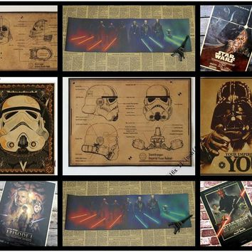 Mixed Order Vintage Classic Movie Star Wars Darth Vader Luke Jedi Poster Cafe Bar Home Decor Retro Kraft Paper Wall Sticker