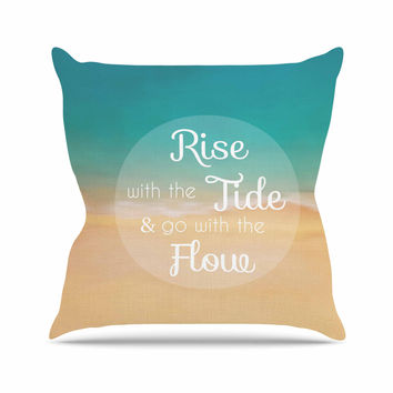 "Alison Coxon ""Rise With The Tide"" Teal Brown Throw Pillow"