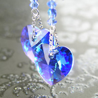 Sapphire Blue Heart Earrings Sterling Silver Swarovski Blue Crystal Heart Sapphire Earrings September Birthstone Blue Heart Dangle Earrings