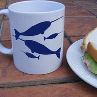 Narwhal Coffee Mug Ceramic Cup with fish gifts for by Mugsleys