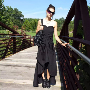 Black Gothic Chic Hi-Low Dress with Corset-Bodice and Gathered Pick-Ups, Custom Made