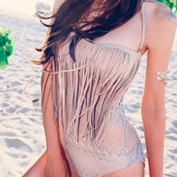 Pretty Halter Padded One Piece Fringed Mesh Swimsuit