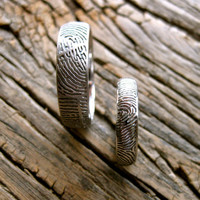 Handmade Pair of Palladium Finger Print Rings with Glossy and Matte Finish Size 11/6mm & 5.5/4mm