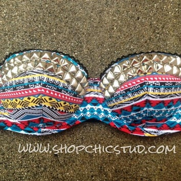 ITEM SHIPS 1/21/2013 - - Studded Bustier Bra Top Multi-color Tribal Print Silver- Gold - or-  Black Studs