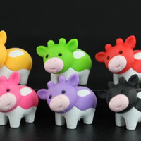 Set of 6 Series Three Cow Erasers