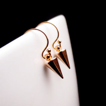 Tiny Rose Gold Spike Earrings, Little Mixed Metal Earrings, Gold and Rose Gold Spike Jewelry