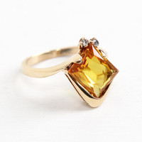 Vintage 10k Rosy Yellow Gold Created Yellow Sapphire Ring - Retro Size 7 Synthetic Clear Spinel Artistic Fine Jewelry, Dated 1969