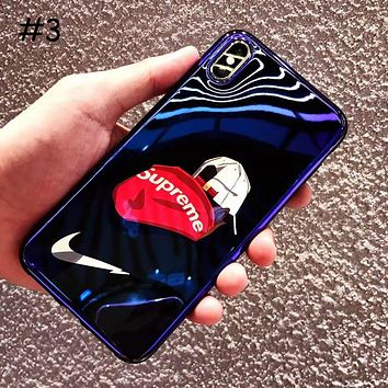 Supreme Tide brand simple blue soft shell iphone x mobile phone case cover #3