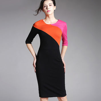 Women Colorblock Round Neck Half Sleeve Bodycon casual Office work business Pencil Bandage womens Patchwork vintage Dress 449