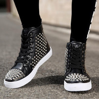 Plus Size 2016 Luxury Brand New Spring Autumn Men Casual Shoes Rivet Skull England Fashion Student Party Flat Hip-hop Shoes