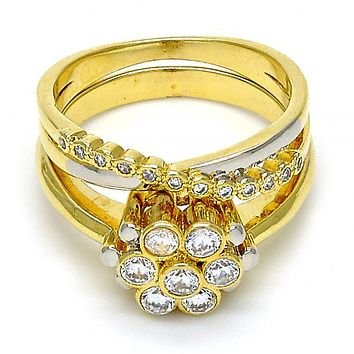 Gold Layered Wedding Ring, Flower and Duo Design, with Cubic Zirconia, Two Tone