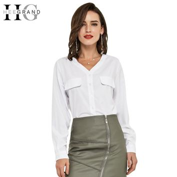 V-Neck 2 Colors Women Tops Blusas Summer Spring Solid Blouse Slim Casual Full Sleeve Woman Shirts
