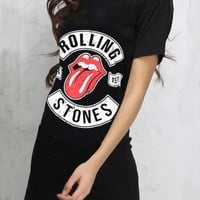 Casual Black Rolling Stones Print Rock And Roll Music Festival Tee Mini Dress