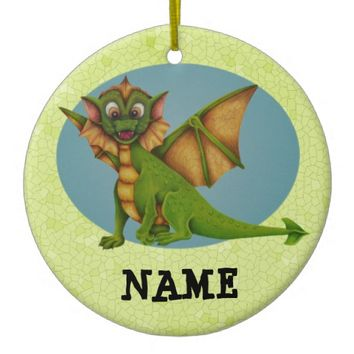 Baby Dragon Personalised Double-Sided Ceramic Round Christmas Ornament