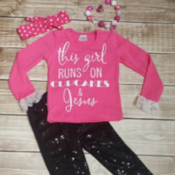 "Pre-order: Girls ""This Girl Runs on Cupcakes & Jesus"" Shirt + Leggings + Headband + Necklace Set"