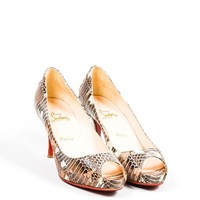 HCXX Brown Christian Louboutin Patchwork Watersnake Very Prive Peep Toe Pumps