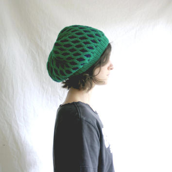 Winter Hat - Womens Knitted Hat - Oversized Geometric Knit Hat Slouch - Emerald & Navy