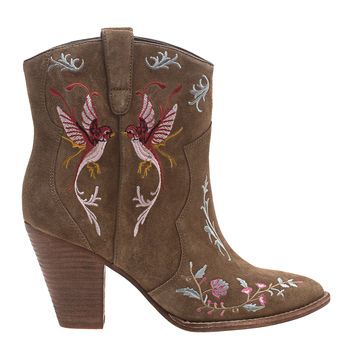 ASH Jenny Brown Embroidered suede leather boots - Shoes