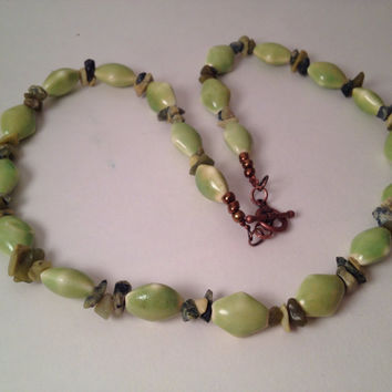 Lime green beaded strand necklace bib style toggle clasp