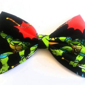 fabric hair bow, girls hair bow, turtle hair bow, stocking stuffer, hair bow, Mutant Ninja Turtles Hair Bow, Ninja Turtle bow, tmnt bow