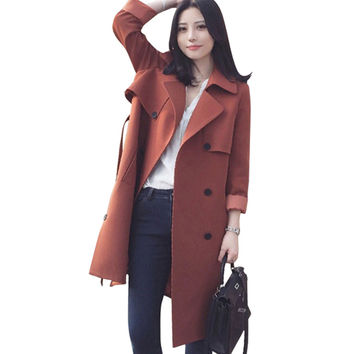 Double-breasted Woman Middle Long Solid Color Wind Coat   brick-red   S