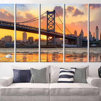 Large Wall Art Canvas Print, Philadelphia Ben Franklin Bridge Skyline Canvas Art Print, Extra Large Skyline Philadelphia Wall Art Print
