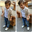 Boys Casual 3 PC Blazer+Collared Shirt+Jeans