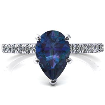 Sicili Pear Alexandrite 5 Prong 3/4 Micro Pave Diamond Engagement Ring