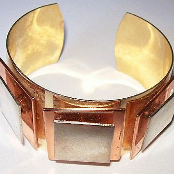 """Vintage Cuff Bracelet 3 Metals Copper Brass & Silver Modern Abstract Design Big Chunky 1.5"""" VG"""