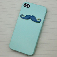 Blue Moustache Light Green Hard Case Cover for Apple iPhone 4 Case
