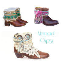 Your Size Vintage Boots Boho Festival Boots Avant Gardy Gypsy Custom Made To Order
