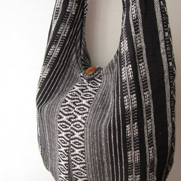 bohemian crossbody purse ,ethnic messenger bag,tribal women hobo bag, aztec sling bag, indian nepali  bag black white