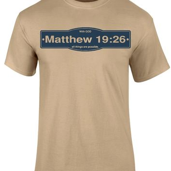 Matthew 19:26 With God All Things Are Possible Khaki Short Sleeve T-shirt