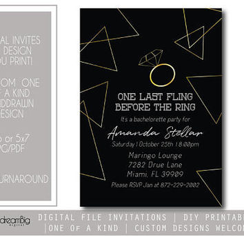 Bachelorette Invitations, Last Fling Digital Invites, Adult Party Invites, Geometric Invitations, Digital Invitations