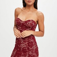 Missguided - Burgundy Sweetheart Lace Bandeau Bodycon Dress