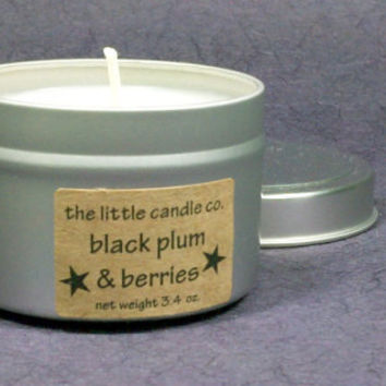 Black Plum & Berries Soy Candle Tin - Hand Poured and Highly Scented Container Candles
