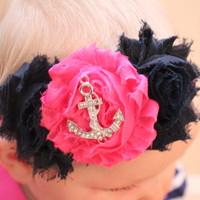 Hot pink and navy anchor shabby flower headband, baby headband, newborn headband, girls headband, alligator clip