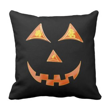 Halloween Jack O'lantern Pumpkin Face Graphic Outdoor Pillow