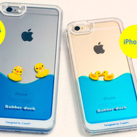 Strapya World : Floating Rubber Duckies in Blue Water Cute Hard Case for iPhone 6 Plus (Girls)
