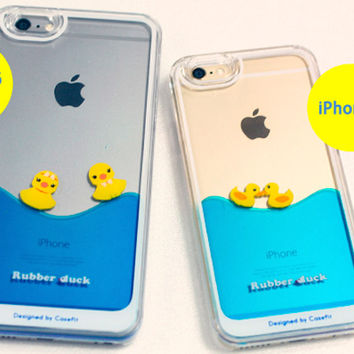 new style 1e619 d38a5 Strapya World : Floating Rubber Duckies in Blue Water Cute Hard Case for  iPhone 6 Plus (Girls)